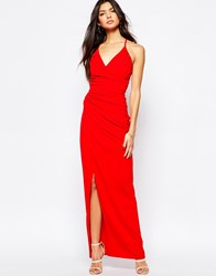 Fleur East By Lipsy Strappy Cage Back Ruched Maxi Dress Red