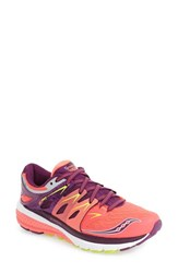 Saucony Women's 'Zealot Iso 2' Running Shoe Vizicoral Purple Citron