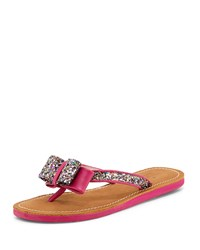 Icarda Glitter Bow Flat Thong Sandal Pink Multi Kate Spade New York