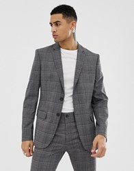 New Look Skinny Fit Suit Jacket In Grey Check Grey Pattern