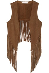 W118 By Walter Baker Lenny Fringed Suede Vest Brown