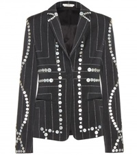 Edun Embellished Pinstriped Blazer Black