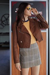 Urban Outfitters Uo Faux Suede Moto Jacket Brown