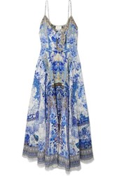 Camilla Knotted Embellished Printed Silk Crepe De Chine Maxi Dress Bright Blue