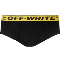 Off White Ribbed Stretch Cotton Briefs Black