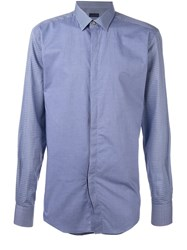 Lanvin Contrast Checked Panel Shirt Blue
