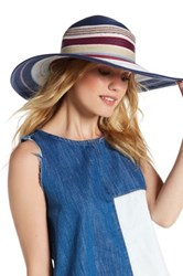 Vince Camuto Striped Floppy Hat Blue