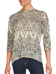 Kensie Relaxed Fit Crewneck Top Sand Multi