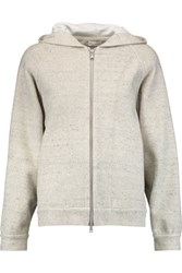 Brunello Cucinelli Sequin Embellished Linen Blend Hooded Sweatshirt Light Gray