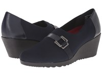 Munro American Mindy Navy Stretch Women's Wedge Shoes Blue
