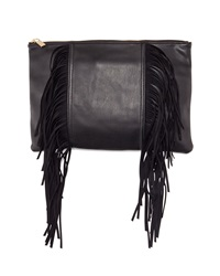 Deux Lux Large Fringe Oversized Clutch Black