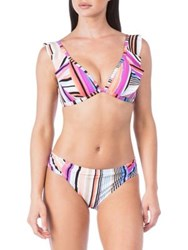 Kenneth Cole Reaction Over The Rainbow Ruffle Swim Top Coral