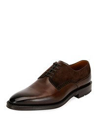 Bally Badux Injected Leather Lace Up Derby Shoes Brown
