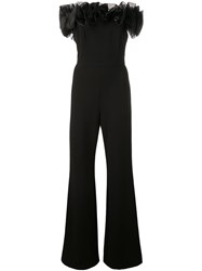 Aidan Mattox Fitted Jumpsuit With Tulle Structure Black
