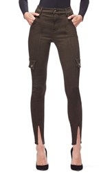 Good American Plus Size Legs Front Slit Seamed Pants Olive001