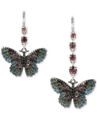 Betsey Johnson Silver Tone Multi Crystal Pave Butterfly Mismatch Drop Earrings