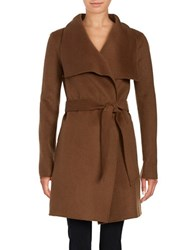 T Tahari Wing Collar Wool Blend Wrap Coat Camel