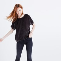 Madewell Velvet Bow Back Top Dark Metal