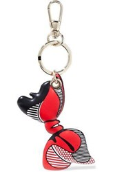 Red V Printed Leather Keychain Red