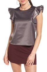 Soprano Women's Ruffle Sleeve Satin Blouse Dark Grey