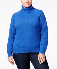 Karen Scott Plus Size Marled Turtleneck Sweater Only At Macy's Havana Blue Marble