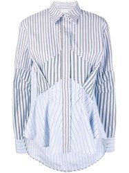 Carven Striped Pleated Front Shirt Blue