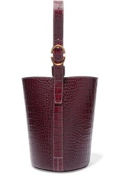 Trademark Small Croc Effect Leather Bucket Bag Burgundy