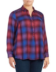 Lucky Brand Plus Embellished Shouldered Plaid Tunic Top Purple