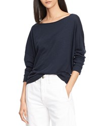 Vince Drop Shoulder Long Sleeve Boat Neck Tee Coastal Blue