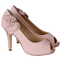 Rainbow Club Apple Blossom Peep Toe Court Leather Heels Rose Pink