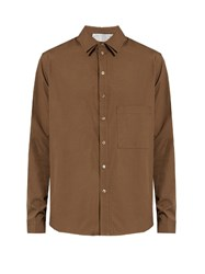 By Walid Double Collar Cotton Poplin Shirt Brown