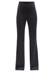 The Row Delon High Rise Flared Scuba Trousers Navy