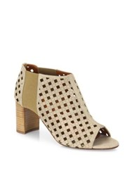 Aquatalia By Marvin K Shari Perforated Suede Open Toe Booties