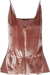 J Brand Woman Lucy Crushed Velvet And Silk Crepe De Chine Camisole Blush