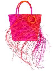 Sensi Studio Two Tone Frayed Stripe Medium Tote Pink