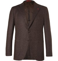 Isaia Brown Slim Fit Melange Herringbone Wool And Cashmere Blend Blazer Brown