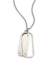 Marc By Marc Jacobs Standard Supply Dog Tag Pendant Necklace Silver