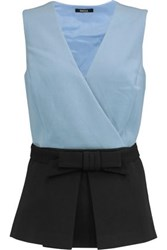 Raoul Vera Wrap Effect Crepe Top Light Blue