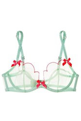 Agent Provocateur Dd Lorna Bow Embellished Tulle Underwired Bra Mint