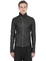 Rick Owens Zip Collar Soft Nappa Leather Jacket