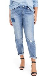 J.Crew Patched And Distressed Slim Boyfriend Jeans Light Medium Wash