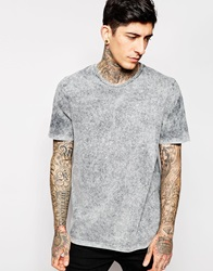 Asos T Shirt With Acid Wash And Roll Sleeves In Relaxed Skater Fit Grey