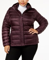 32 Degrees Plus Size Packable Puffer Coat Eggplant