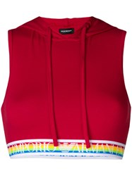 Emporio Armani Rainbow Elasticated Hooded Bra Top Red