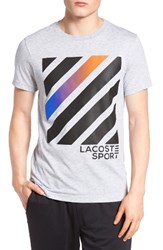 Lacoste Men's Angled Graphic T Shirt Silver Chine Black