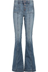 Current Elliott The Judy Faded Low Rise Flared Jeans Mid Denim