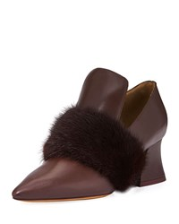 Givenchy Patricia Loafer Pump With Mink Fur Trim Burgundy