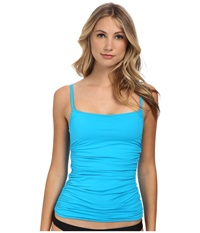 Lablanca Core Solid Lingerie Tankini W Floating Underwire Removable Cups Adjustable Straps Turquoise Women's Swimwear Blue