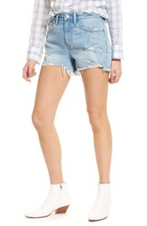 Treasure And Bond High Waist Boyfriend Cutoff Denim Shorts Gravel Light Destroyed