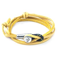 Anchor And Crew Dundee Leather Silver Braceletyellow